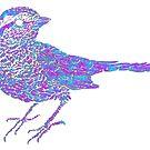 Pink and blue sparrow by Arsonista Gartzia