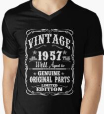 AWESOME BORN IN 1957 Men's V-Neck T-Shirt