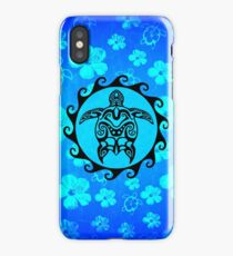 Black Tribal Turtle And Hibiscus Pattern iPhone Case/Skin