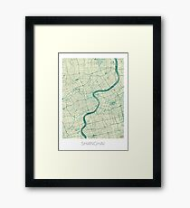 Shanghai Map Blue Vintage Framed Print