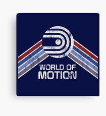 World of Motion Logo im Vintage Distressed Stil Leinwanddruck