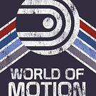 World of Motion Logo im Vintage Distressed Stil von retrocot