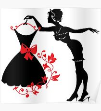 Pin up woman silhouette Poster