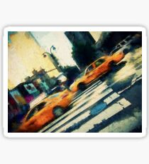 Iconic yellow taxi cabs on a busy NYC street Sticker