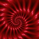 Glossy Red Spiral Fractal by Kitty Bitty