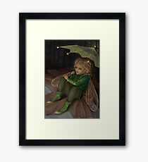 Autumn elf with umbrella Framed Print