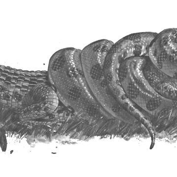 Anaconda vs Caiman ( Greyscale ) by staticnomad