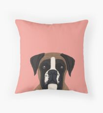 boxer dog gifts for dog person with boxer breed customizable pet portraits pet friendly  Throw Pillow