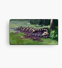 Dragon's corpse at the edge of a swamp lake Canvas Print