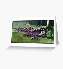Dragon's corpse at the edge of a swamp lake Greeting Card