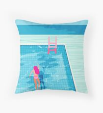 In Deep - abstract memphis throwback 1980s style retro neon palm springs simmer resort country club poolside vacation Throw Pillow