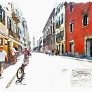 Teramo: street with people and bicycle by Giuseppe Cocco