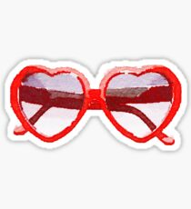 Heart-Shaped Sunglasses in Watercolor - Trendy/Summer/Hipster Style Sticker