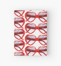 Heart-Shaped Sunglasses in Watercolor - Trendy/Summer/Hipster Style Hardcover Journal