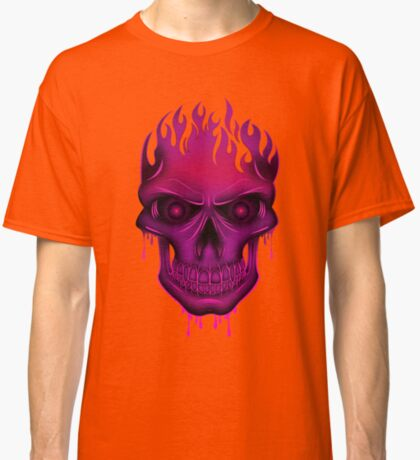 Flame Skull - Hot Pink (2) Classic T-Shirt