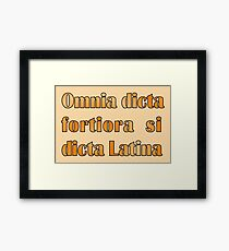 Funny Latin slogan for know-alls Framed Print
