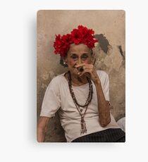 Old lady smoking cuban cigar in Havana Canvas Print