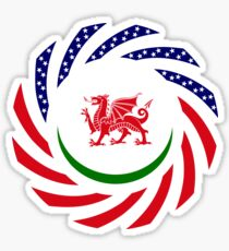 Welsh American Multinational Patriot Flag Series Sticker