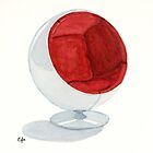 The Ball Chair - Watercolor painting  by Eugenia Alvarez