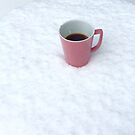 A Pink Cup of Coffee in the Snow by julie08
