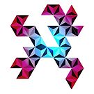 Colorful 3D abstract geometric design, triangles and hexagons. by cesarpadilla