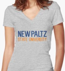 New Paltz State University Women's Fitted V-Neck T-Shirt