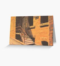 Stairwell by lamplight. Greeting Card
