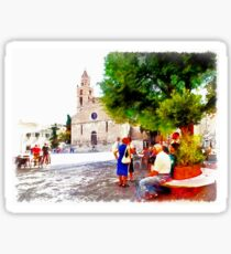 Teramo: cathedral with older men and women Sticker