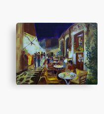 EVENING AT STREET CAFE Canvas Print