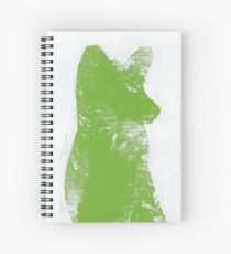 Lime Green Finger Painted Arctic Fox Spiral Notebook
