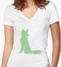Mint Green Finger Painted Arctic Fox Women's Fitted V-Neck T-Shirt