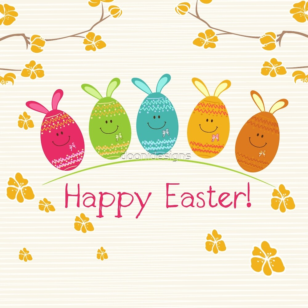 cute adorable cartoon easter egg bunnies and flowers happy easter