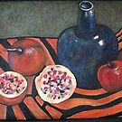 Persimmons and old wine bottle by Redlady