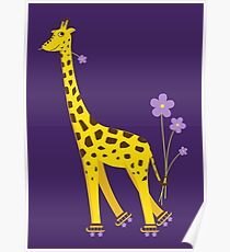 Purple Cartoon Funny Giraffe Roller Skating Poster