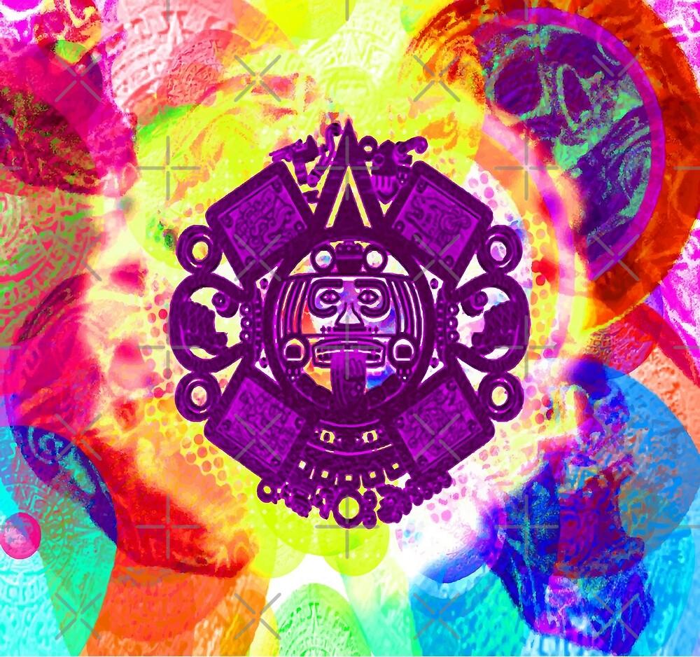 Psychodelic Aztec Sun God and Skulls by PrettyGrimBiz