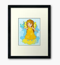 Cute Angel cartoon vector Framed Print
