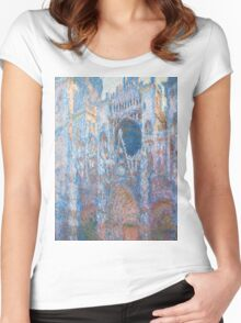 1894-Claude Monet-Rouen Cathedral, West Façade-65 x 100 Women's Fitted Scoop T-Shirt
