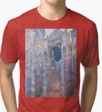 1894-Claude Monet-Rouen Cathedral, West Façade-65 x 100 Tri-blend T-Shirt