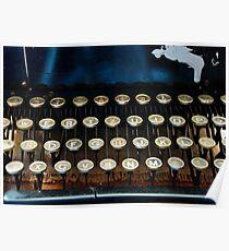 Antique Typewriter Keyboard Poster