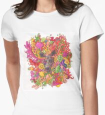 Psychedelic Moose Women's Fitted T-Shirt