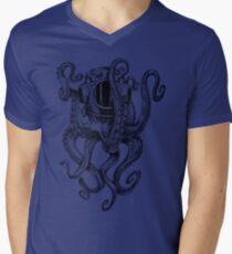 Camiseta para hombre de cuello en v Casco de buceo Octopus Scuba Diver