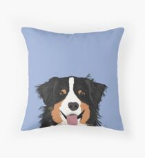 Australian Shepherd dog art customized pet portrait for aussie owners cute dog gift for dog person  Throw Pillow
