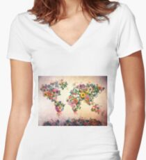 world map floral 4 Women's Fitted V-Neck T-Shirt