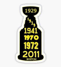 Boston Bruins Stanley Cup Winning Years Sticker