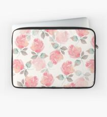 Hand-drawn beautiful roses. Seamless watercolor pattern Laptop Sleeve
