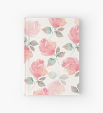 Hand-drawn beautiful roses. Seamless watercolor pattern Hardcover Journal