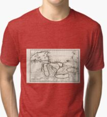 Vintage Map of The Great Lakes (1744) Tri-blend T-Shirt