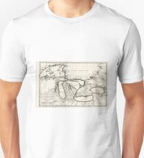 Vintage Map of The Great Lakes (1744) T-Shirt