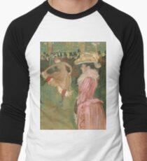 Henri de Toulouse-Lautrec  - At the Moulin Rouge The Dance (1890)Woman Portrait Fashion Men's Baseball ¾ T-Shirt