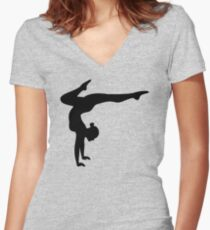 B&W Contortionist Women's Fitted V-Neck T-Shirt